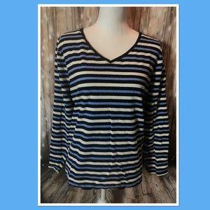 Talbots Blue & Ivory Striped LS Tee